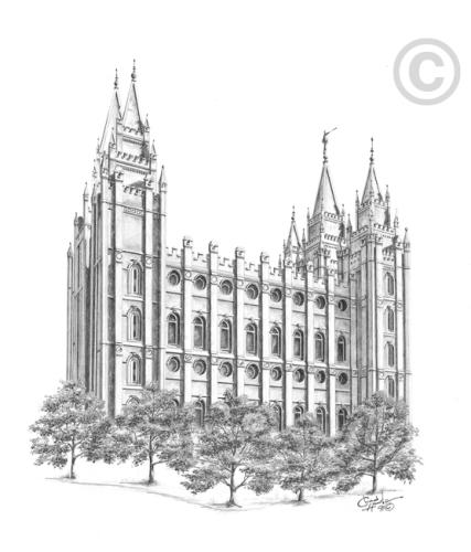 Salt Lake Utah Temple Sketch In Temple Ldsbookstore