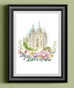 Salt Lake Watercolor Temple - Printable printable, salt lake watercolor, salt lake temple, salt lake city temple, LDS, Latter Day Saint, Mormon, Temple, Salt Lake City, SLC, art, floral wreath, banner, painting, print