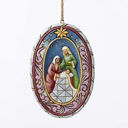 Jim Shore Heartwood Creek Holy Family Oval Ornament
