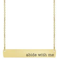 Abide with Me Bar Necklace bar necklace, text bar necklace, gold bar necklace, engraved necklace, missionary necklace, sister missionary necklace, hymn necklace, abide with me, abide with me necklace