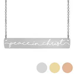 Peace In Christ Horiztonal Bar Necklace peace in christ horizontal bar necklace, peace in christ primary 2018 theme, peace in christ jewelry, 2018 primary themed jewelry
