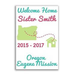 Handheld Mission to Home Sister Poster lds missionary banner, flag missionary banner, flag missionary poster, homecoming flag mission poster, LDS Sister mission home banner