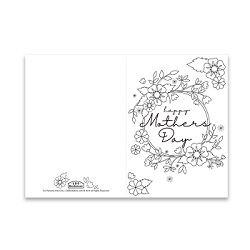 Mothers Day Coloring Card - Spring Flowers - Printable free mothers day card, printable mothers day card, flowery mothers day card