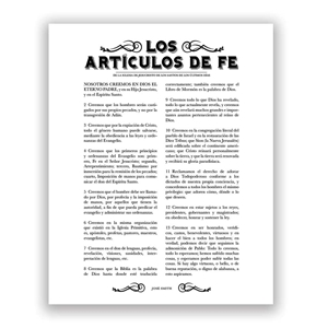 Newspaper Articles of Faith - Spanish newspaper, leaf, black, gold, charcoal, the articles of faith in spanish, spanish articles of faith, spanish