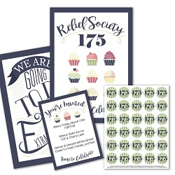 Relief Society 175 Birthday Kit - Cupcake Printable relief society 175th birthday, happy birthday relief society