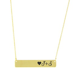 Initial Heart Horizontal Bar Necklace