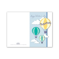 Hot Air Ballons Valentines Day Card - Printable