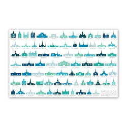 United States Temples Tracker Poster - 4 Designs utah temples poster, utah temples, rainbow temples poster, rainbow utah temples, spectrum