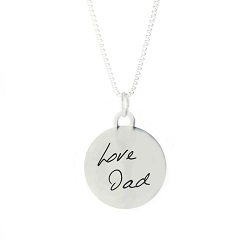 Personalized Handwriting Circle Pendant Necklace
