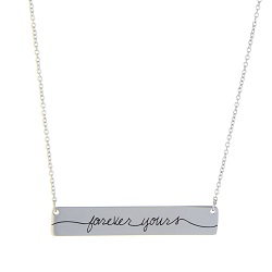 Forever Yours Bar Necklace bar necklace, text bar necklace, gold bar necklace, engraved necklace, bereavement necklace,