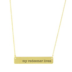 My Redeemer Lives Bar Necklace