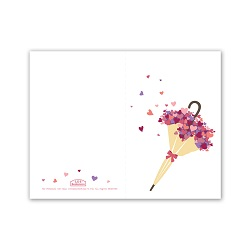 Umbrella Heart Bouquet Valentines Day Card - Printable