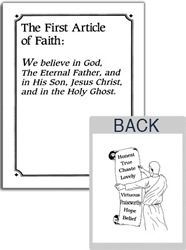 Articles of Faith Flash Cards articles of faith cards, lds learning cards