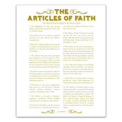 Newspaper Articles of Faith - Gold - Printable articles of faith posters, articles of faith, newspaper articles of faith, articles of faith printable