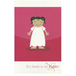 Its Great to be Eight Greeting Card - Girl