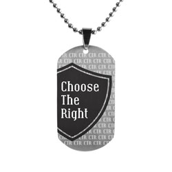 Black Choose the Right Shield Dog Tag