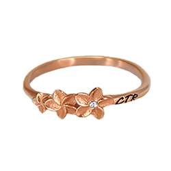 Plumeria CTR Ring rose gold ctr ring, rose gold lds ring