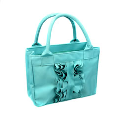 Turquoise Ruffle Scripture Tote