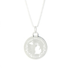 Michigan Mission Necklace - Silver/Gold michigan lds mission jewelry