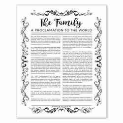 Organic Family Proclamation - Black - Printable