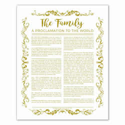 Organic Family Proclamation - Gold - Printable family proclamation, family proclamation to the world, the family proclamation, organic family proclamation