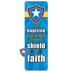 Just Baptized Shield Pin & Bookmark