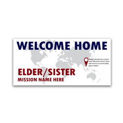 Pinpoint Missionary Banner lds missionary banner, globe missionary banner, world missionary poster, homecoming world mission poster