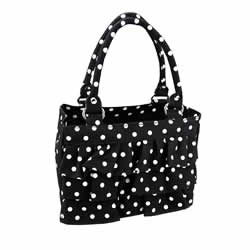 Black & White Polka Dot Ruffle Scripture Tote