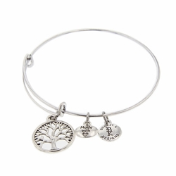Tree of Life Medallion Bangle Bracelet - Silver lds tree of life jewelry, lds book of mormon jewelry, book of mormon bracelet, book of mormon bangle bracelet