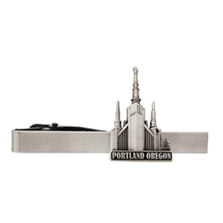 Portland Oregon Temple Tie Bar - Silver